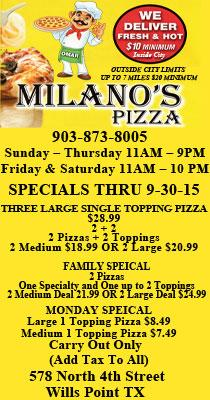Milanos Pizza Wills Point