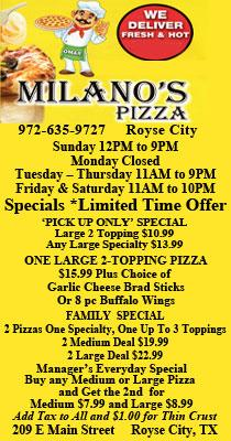 Milanos Pizza Royse City